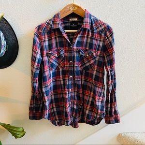 AMERICAN EAGLE plaid flannel boyfriend fit shirt L